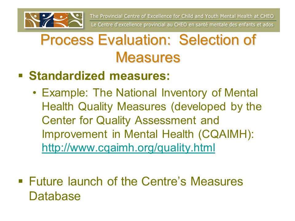 Process Evaluation: Selection of Measures Standardized measures: Example: The National Inventory of Mental Health Quality Measures (developed by the C