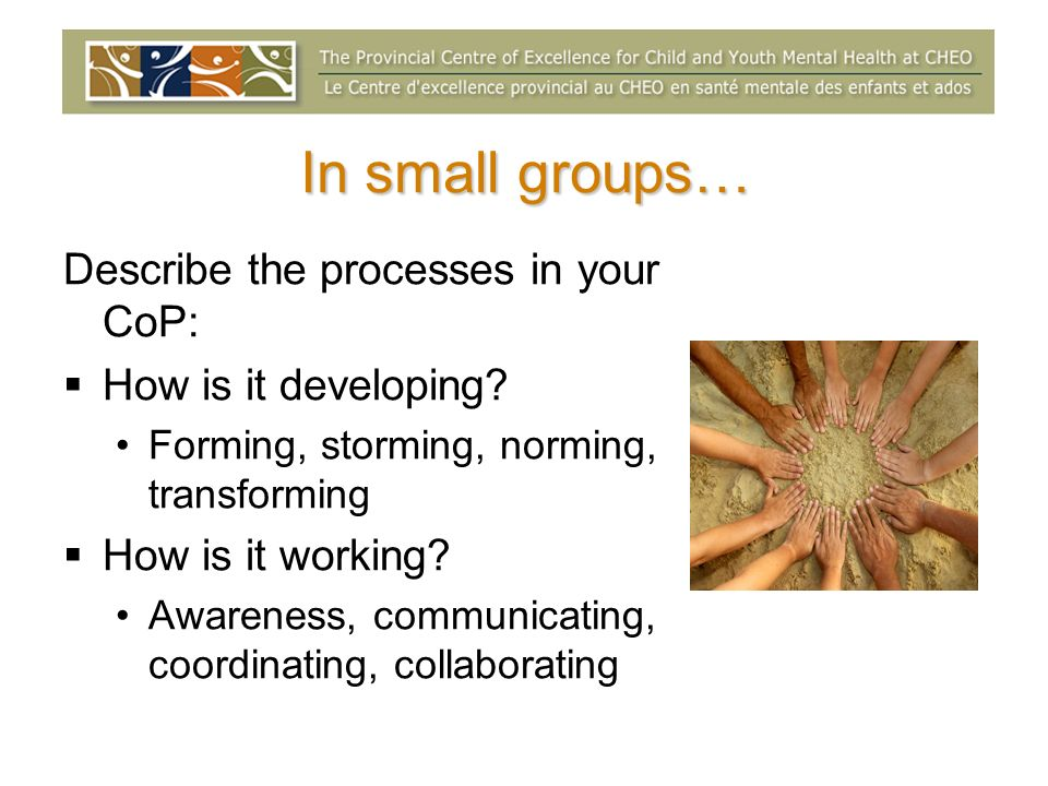 In small groups… Describe the processes in your CoP: How is it developing.
