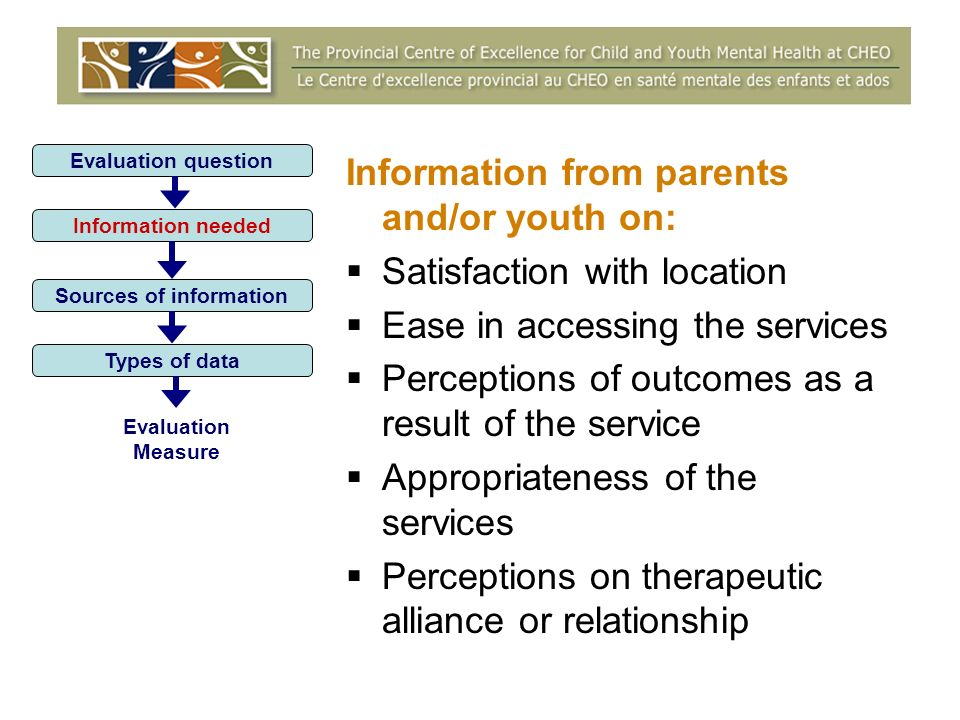 Information from parents and/or youth on: Satisfaction with location Ease in accessing the services Perceptions of outcomes as a result of the service Appropriateness of the services Perceptions on therapeutic alliance or relationship Evaluation question Information needed Sources of information Types of data Evaluation Measure