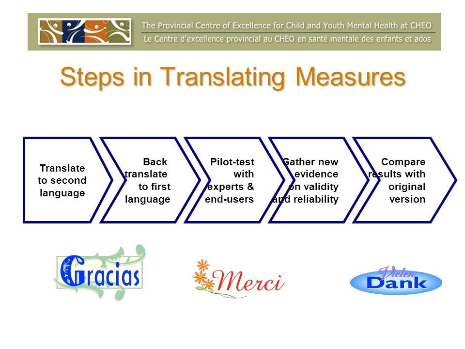 Steps in Translating Measures Translate to second language Back translate to first language Pilot-test with experts & end-users Gather new evidence on