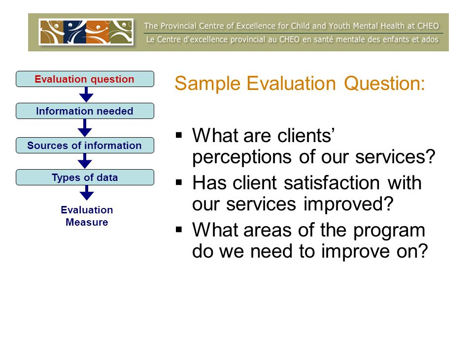 Sample Evaluation Question: What are clients perceptions of our services.