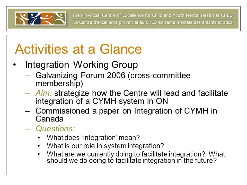 Activities at a Glance Integration Working Group –Galvanizing Forum 2006 (cross-committee membership) –Aim: strategize how the Centre will lead and facilitate integration of a CYMH system in ON –Commissioned a paper on Integration of CYMH in Canada –Questions: What does integration mean.