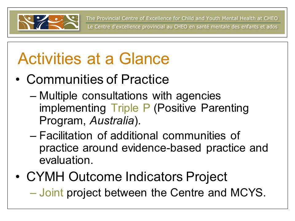 Communities of Practice –Multiple consultations with agencies implementing Triple P (Positive Parenting Program, Australia).