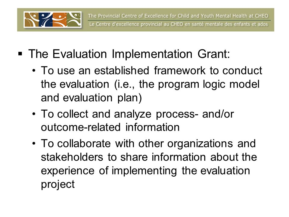 The Evaluation Implementation Grant: To use an established framework to conduct the evaluation (i.e., the program logic model and evaluation plan) To collect and analyze process- and/or outcome-related information To collaborate with other organizations and stakeholders to share information about the experience of implementing the evaluation project
