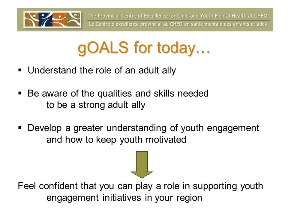 gOALS for today… Understand the role of an adult ally Be aware of the qualities and skills needed to be a strong adult ally Develop a greater understanding of youth engagement and how to keep youth motivated Feel confident that you can play a role in supporting youth engagement initiatives in your region