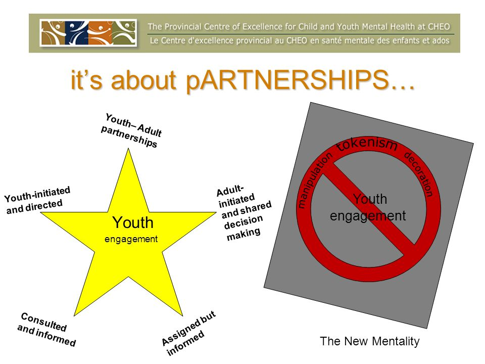 its about pARTNERSHIPS… Youth engagement Youth engagement Youth– Adult partnerships Adult- initiated and shared decision making Assigned but informed Consulted and informed Youth-initiated and directed The New Mentality