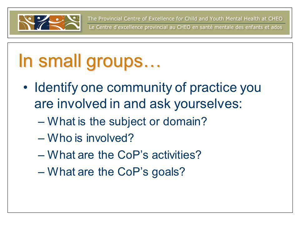 In small groups… Identify one community of practice you are involved in and ask yourselves: –What is the subject or domain? –Who is involved? –What ar