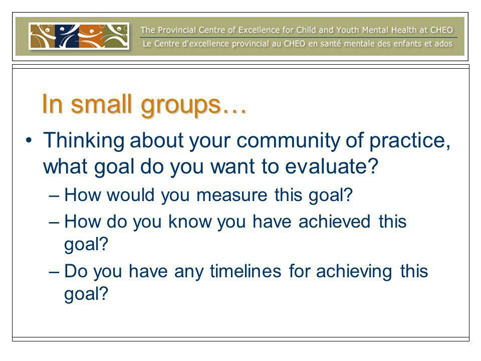 In small groups… Thinking about your community of practice, what goal do you want to evaluate.