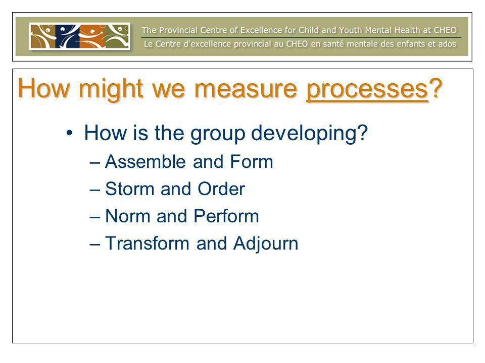 How might we measure processes? How is the group developing? –Assemble and Form –Storm and Order –Norm and Perform –Transform and Adjourn