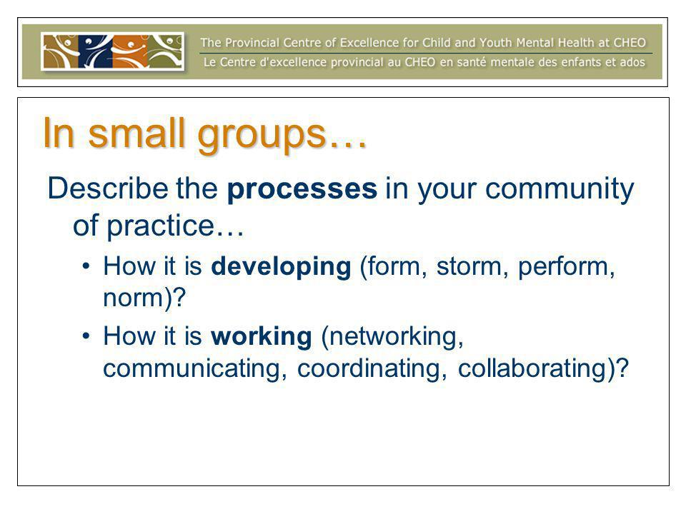 In small groups… Describe the processes in your community of practice… How it is developing (form, storm, perform, norm)? How it is working (networkin