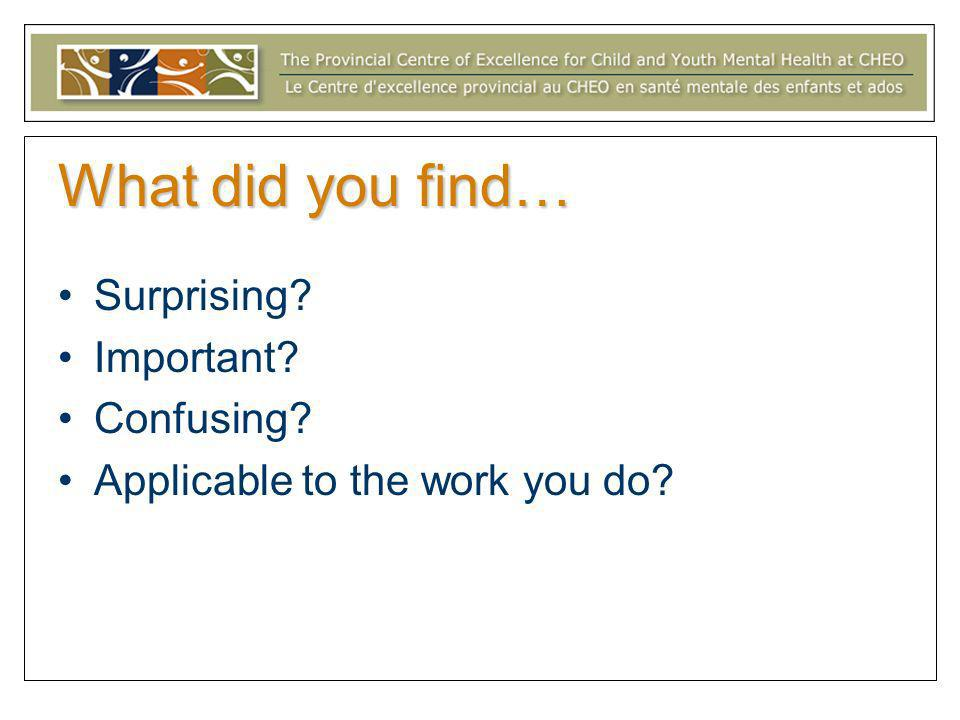What did you find… Surprising? Important? Confusing? Applicable to the work you do?