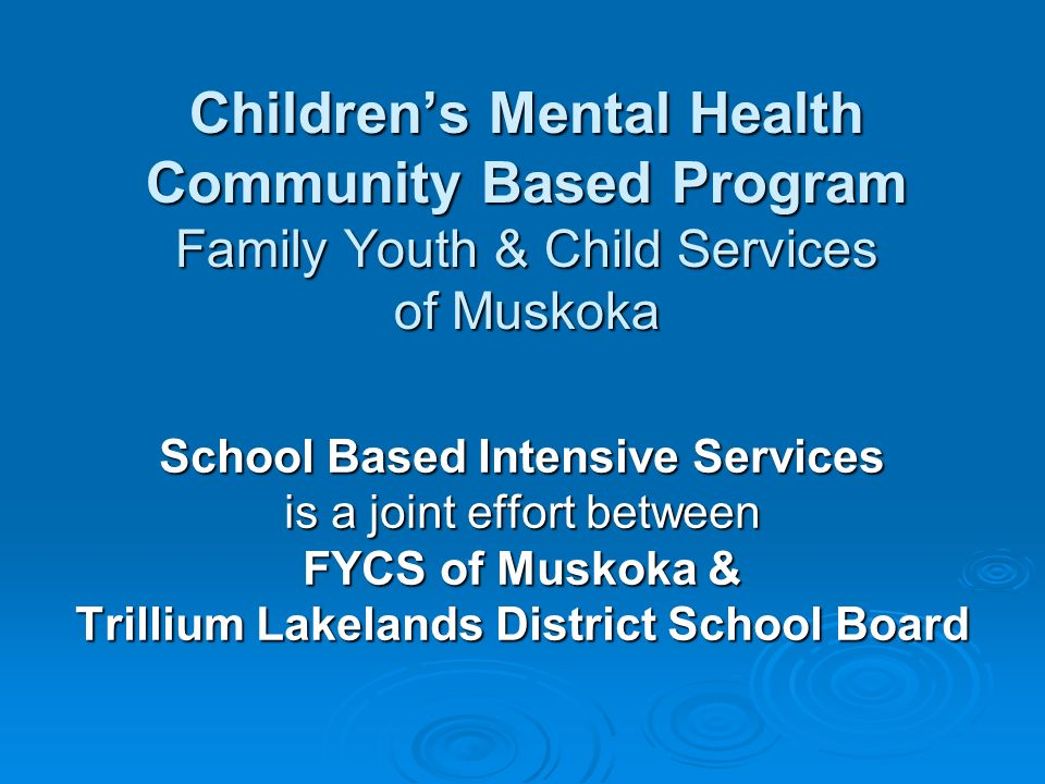Childrens Mental Health Community Based Program Family Youth & Child Services of Muskoka School Based Intensive Services is a joint effort between FYCS of Muskoka & Trillium Lakelands District School Board