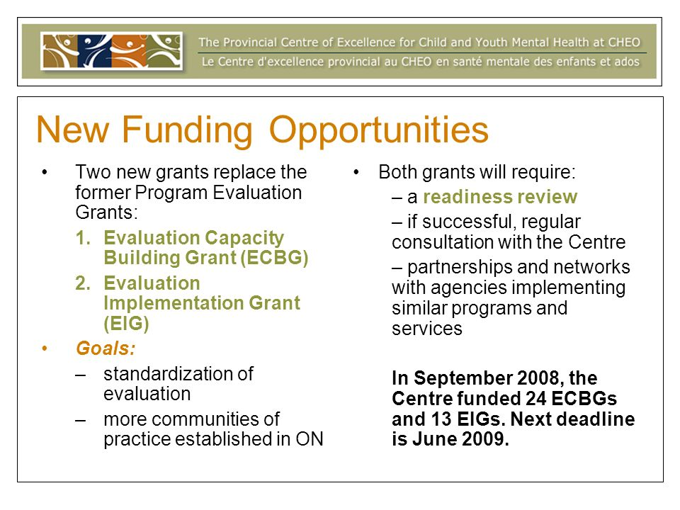 New Funding Opportunities Two new grants replace the former Program Evaluation Grants: 1.Evaluation Capacity Building Grant (ECBG) 2.Evaluation Implementation Grant (EIG) Goals: –standardization of evaluation –more communities of practice established in ON Both grants will require: – a readiness review – if successful, regular consultation with the Centre – partnerships and networks with agencies implementing similar programs and services In September 2008, the Centre funded 24 ECBGs and 13 EIGs.