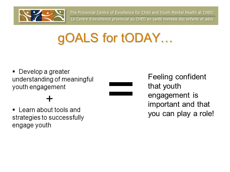 gOALS for tODAY… Develop a greater understanding of meaningful youth engagement + Learn about tools and strategies to successfully engage youth Feelin