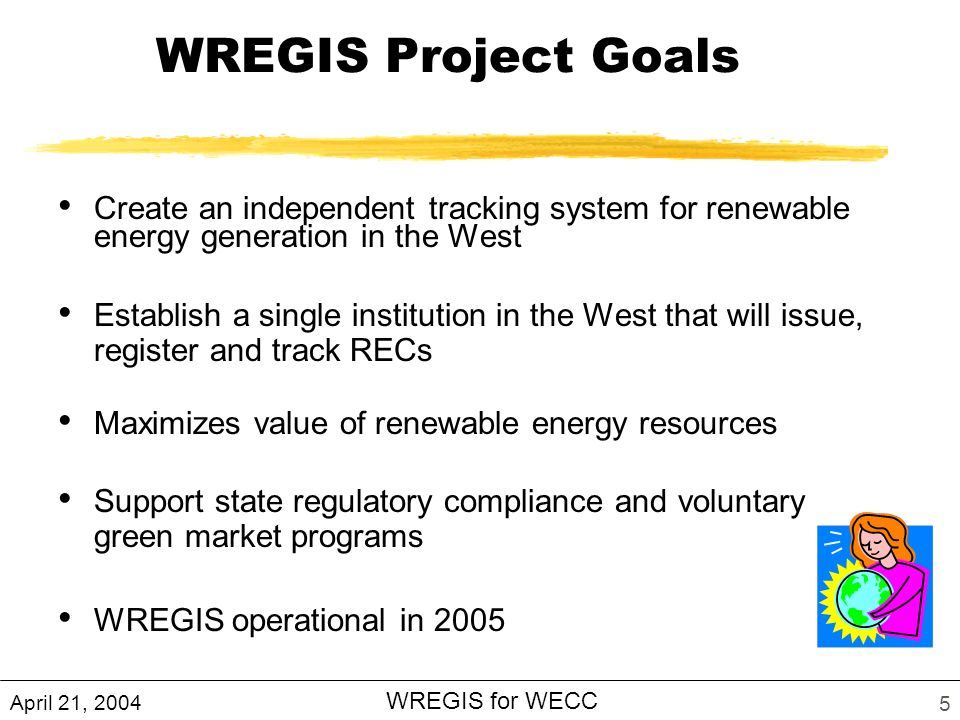 April 21, 2004 WREGIS for WECC 5 WREGIS Project Goals Create an independent tracking system for renewable energy generation in the West Establish a single institution in the West that will issue, register and track RECs Maximizes value of renewable energy resources Support state regulatory compliance and voluntary green market programs WREGIS operational in 2005