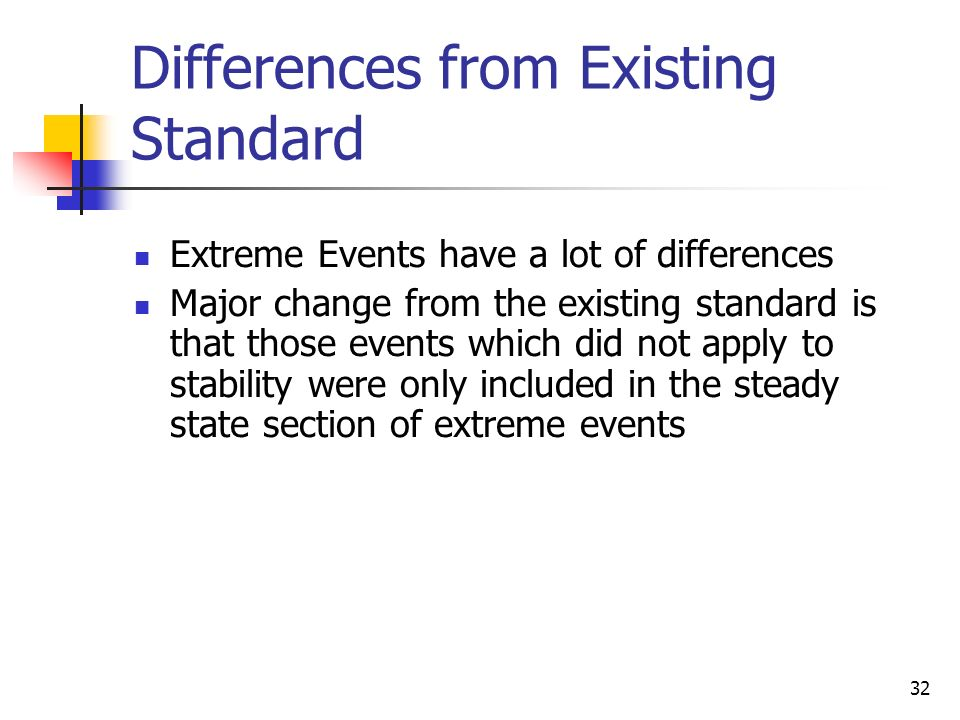 32 Differences from Existing Standard Extreme Events have a lot of differences Major change from the existing standard is that those events which did