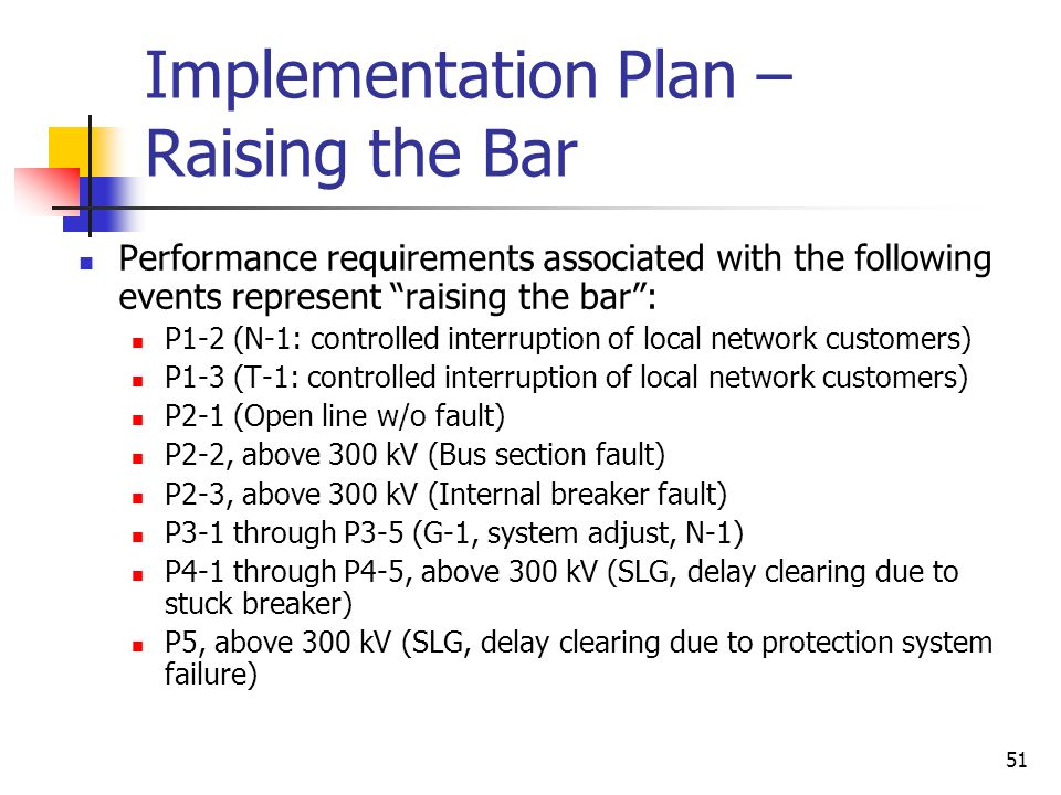 51 Implementation Plan – Raising the Bar Performance requirements associated with the following events represent raising the bar: P1-2 (N-1: controlle