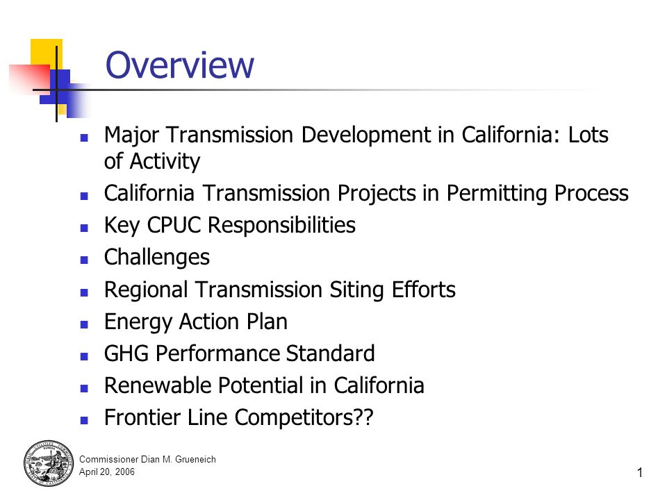 CPUC Vision for Transmission Planning in the West Dian M.