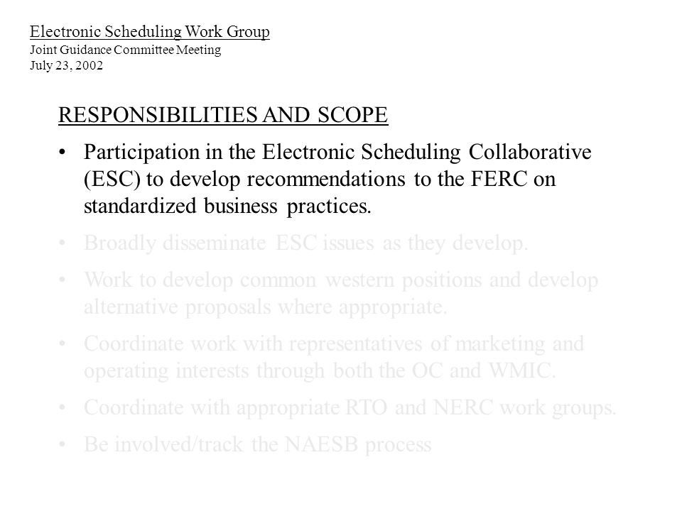 Electronic Scheduling Work Group Joint Guidance Committee Meeting July 23, 2002 RESPONSIBILITIES AND SCOPE Participation in the Electronic Scheduling Collaborative (ESC) to develop recommendations to the FERC on standardized business practices.