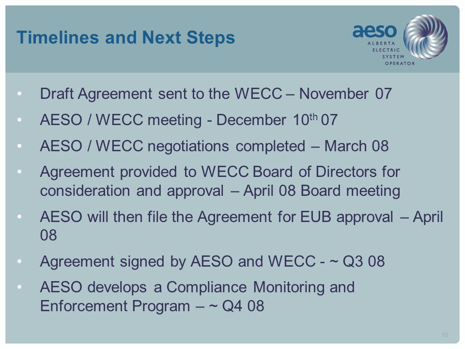 10 Timelines and Next Steps Draft Agreement sent to the WECC – November 07 AESO / WECC meeting - December 10 th 07 AESO / WECC negotiations completed – March 08 Agreement provided to WECC Board of Directors for consideration and approval – April 08 Board meeting AESO will then file the Agreement for EUB approval – April 08 Agreement signed by AESO and WECC - ~ Q3 08 AESO develops a Compliance Monitoring and Enforcement Program – ~ Q4 08