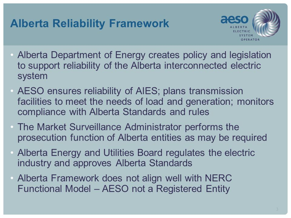 3 Alberta Reliability Framework Alberta Department of Energy creates policy and legislation to support reliability of the Alberta interconnected electric system AESO ensures reliability of AIES; plans transmission facilities to meet the needs of load and generation; monitors compliance with Alberta Standards and rules The Market Surveillance Administrator performs the prosecution function of Alberta entities as may be required Alberta Energy and Utilities Board regulates the electric industry and approves Alberta Standards Alberta Framework does not align well with NERC Functional Model – AESO not a Registered Entity