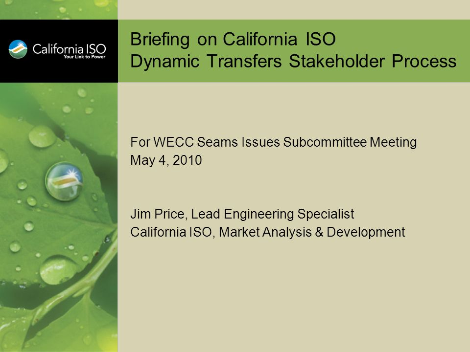 Briefing on California ISO Dynamic Transfers Stakeholder Process For WECC Seams Issues Subcommittee Meeting May 4, 2010 Jim Price, Lead Engineering Sp