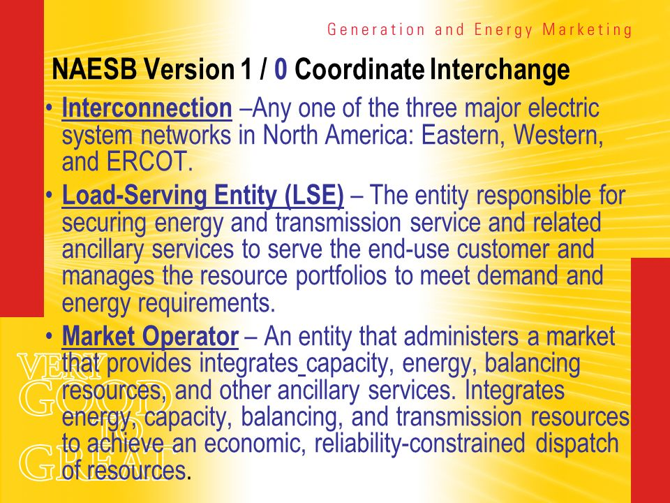 NAESB Version 1 / 0 Coordinate Interchange Interconnection –Any one of the three major electric system networks in North America: Eastern, Western, an