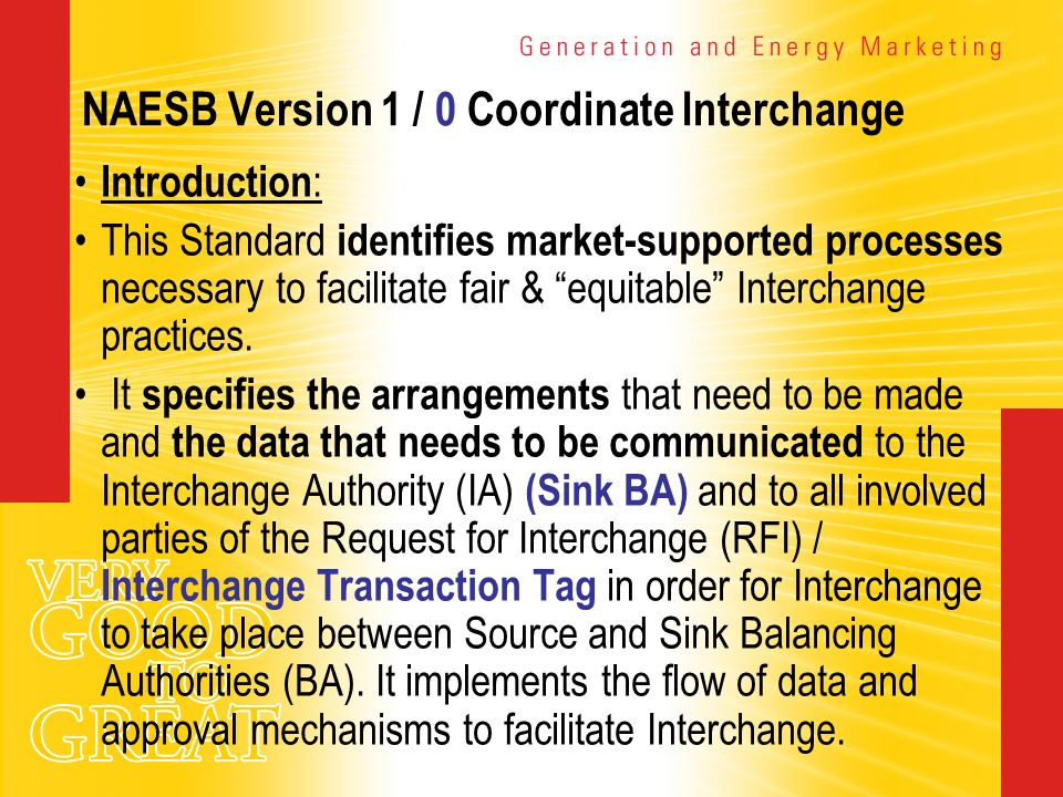 NAESB Version 1 / 0 Coordinate Interchange Introduction : This Standard identifies market-supported processes necessary to facilitate fair & equitable