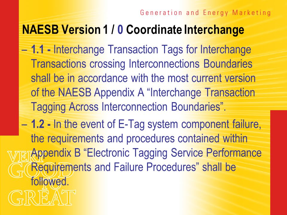NAESB Version 1 / 0 Coordinate Interchange – 1.1 - Interchange Transaction Tags for Interchange Transactions crossing Interconnections Boundaries shal