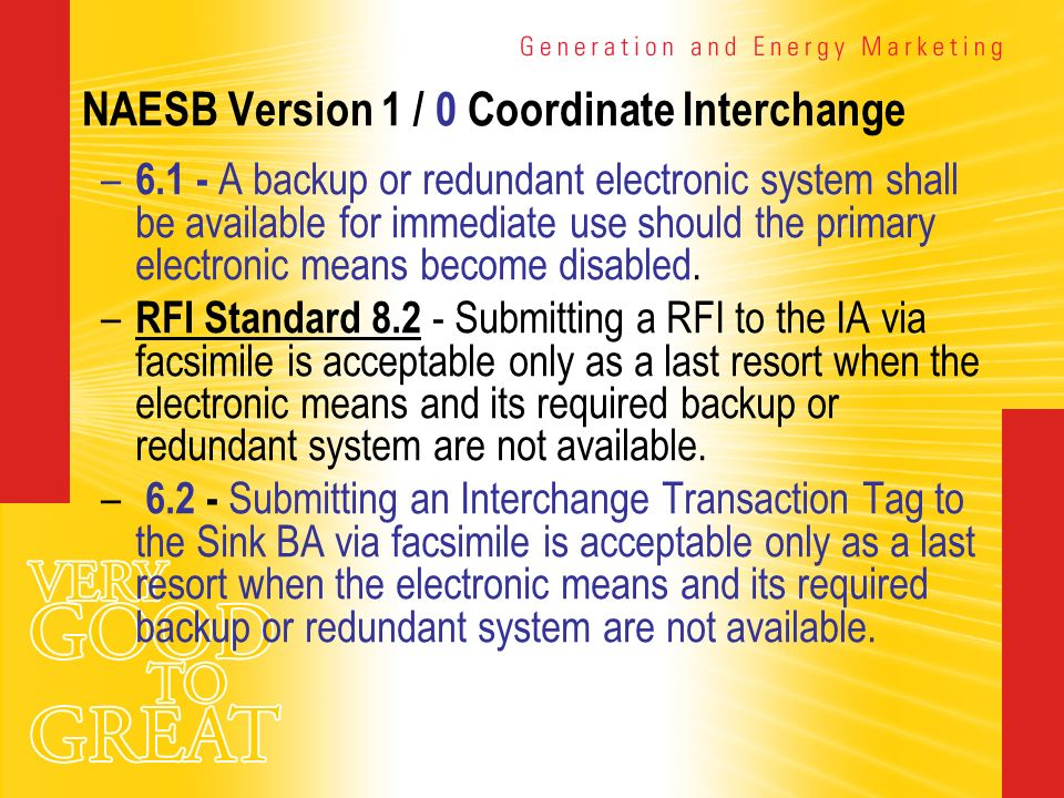 NAESB Version 1 / 0 Coordinate Interchange – 6.1 - A backup or redundant electronic system shall be available for immediate use should the primary ele