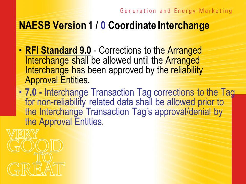 NAESB Version 1 / 0 Coordinate Interchange RFI Standard 9.0 - Corrections to the Arranged Interchange shall be allowed until the Arranged Interchange