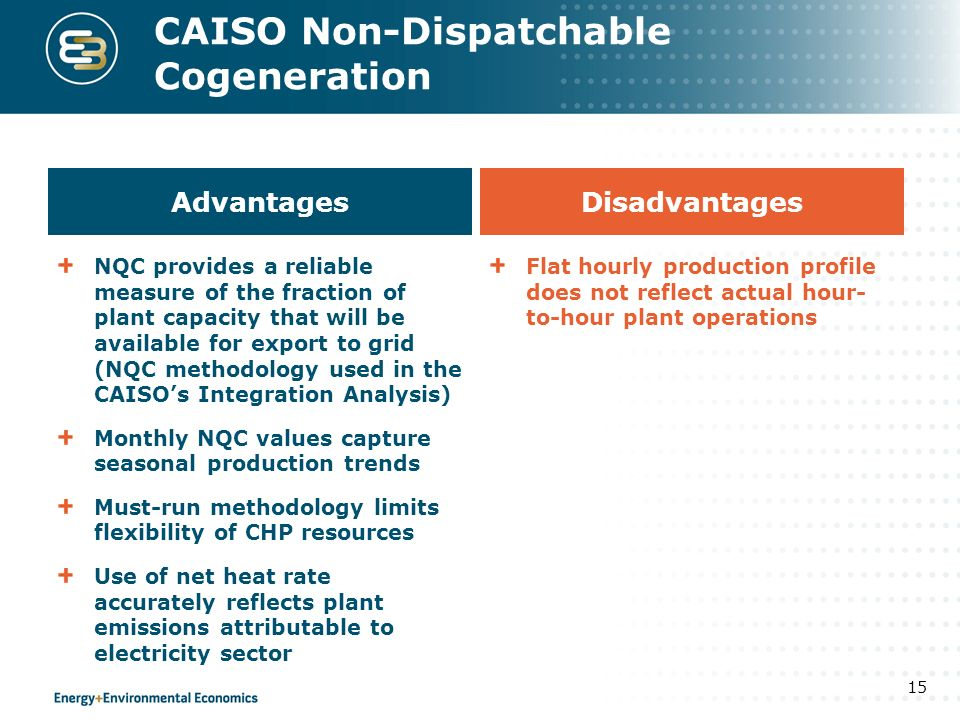 CAISO Non-Dispatchable Cogeneration 15 Advantages NQC provides a reliable measure of the fraction of plant capacity that will be available for export to grid (NQC methodology used in the CAISOs Integration Analysis) Monthly NQC values capture seasonal production trends Must-run methodology limits flexibility of CHP resources Use of net heat rate accurately reflects plant emissions attributable to electricity sector Disadvantages Flat hourly production profile does not reflect actual hour- to-hour plant operations