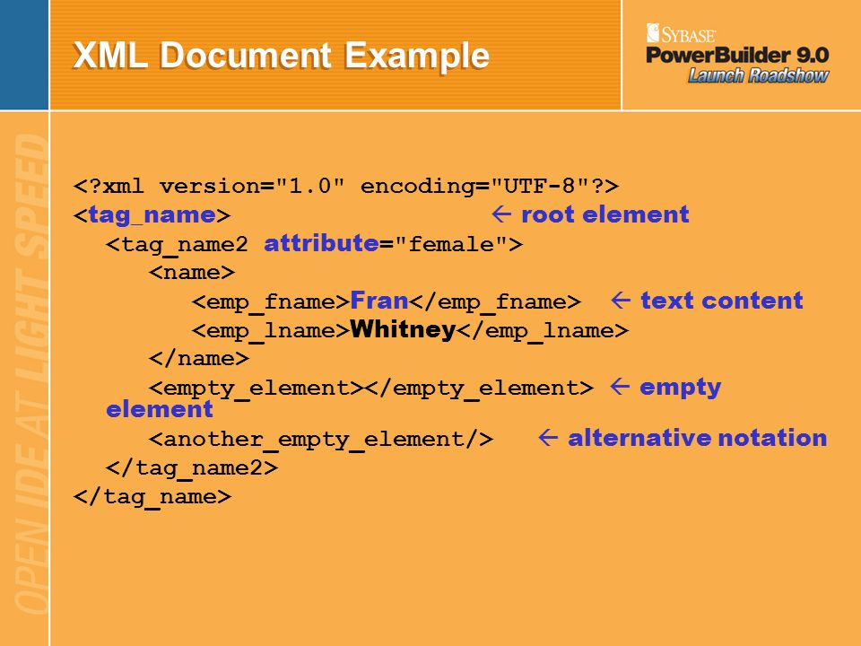 XML Document Well-Formed if structure follows XML syntax rules –Contains one or more elements Element is a tree containing start-tag, content, end-tag
