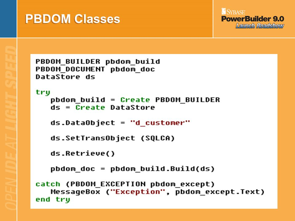 PBDOM Classes The PBDOM_BUILDER The following code fragment is an example of building a PBDOM_DOCUMENT from a string.