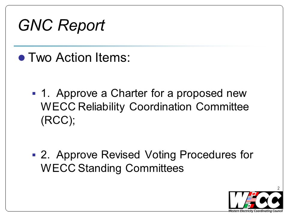 GNC Report Two Action Items: 1.