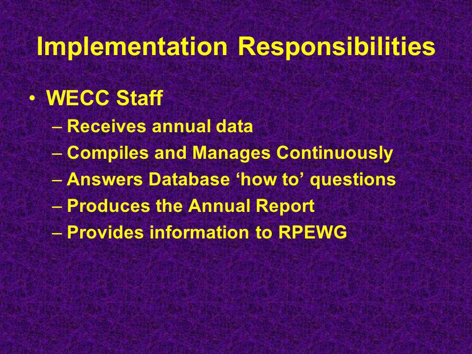 Implementation Responsibilities WECC Staff –Receives annual data –Compiles and Manages Continuously –Answers Database how to questions –Produces the Annual Report –Provides information to RPEWG