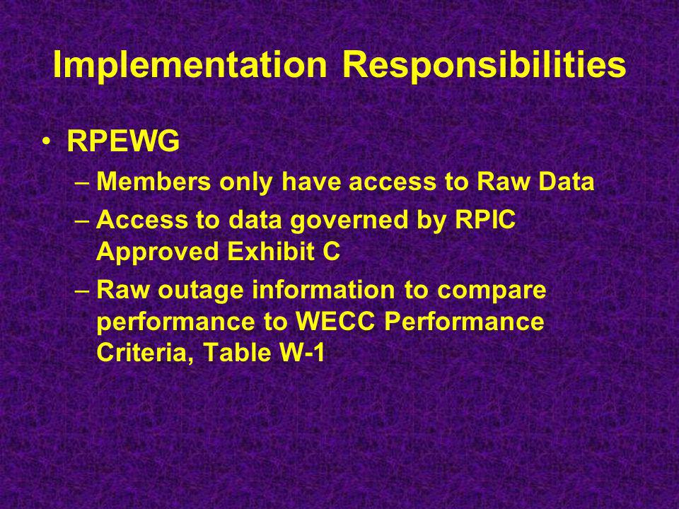 Implementation Responsibilities RPEWG –Members only have access to Raw Data –Access to data governed by RPIC Approved Exhibit C –Raw outage information to compare performance to WECC Performance Criteria, Table W-1