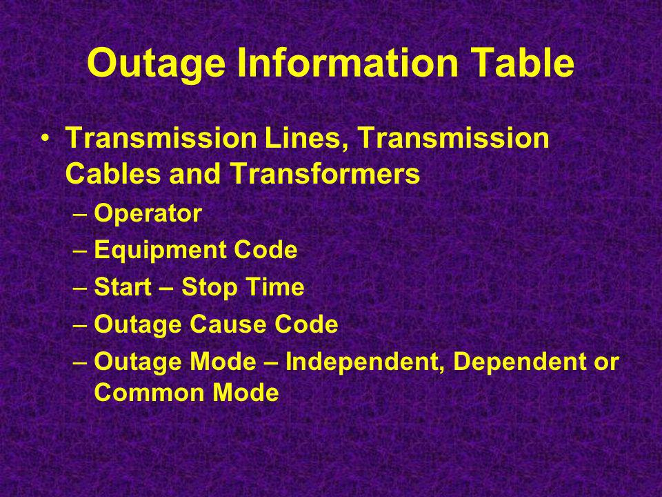 Attribute Tables –Transmission Circuits/Cables From, To, Miles, Type, kV, Conductors per phase, Overhead ground wire, insulation, cable type, Structure materials and types, common corridor, terrain and elevation.