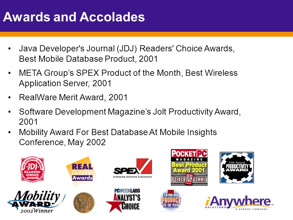 Java Developer s Journal (JDJ) Readers Choice Awards, Best Mobile Database Product, 2001 META Groups SPEX Product of the Month, Best Wireless Application Server, 2001 RealWare Merit Award, 2001 Software Development Magazines Jolt Productivity Award, 2001 Mobility Award For Best Database At Mobile Insights Conference, May 2002 Awards and Accolades