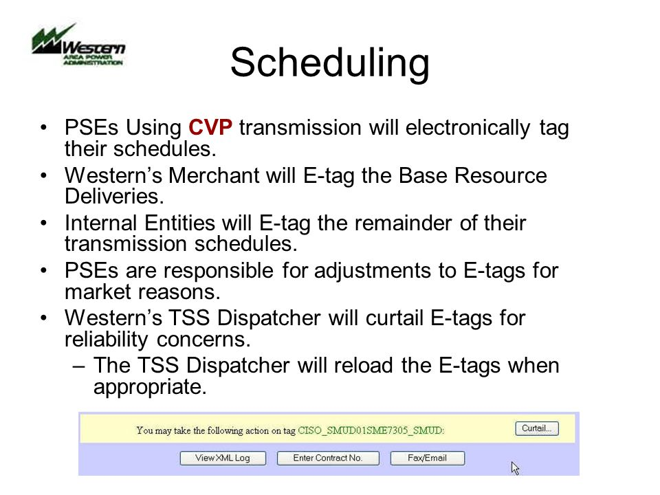 Scheduling PSEs Using CVP transmission will electronically tag their schedules.