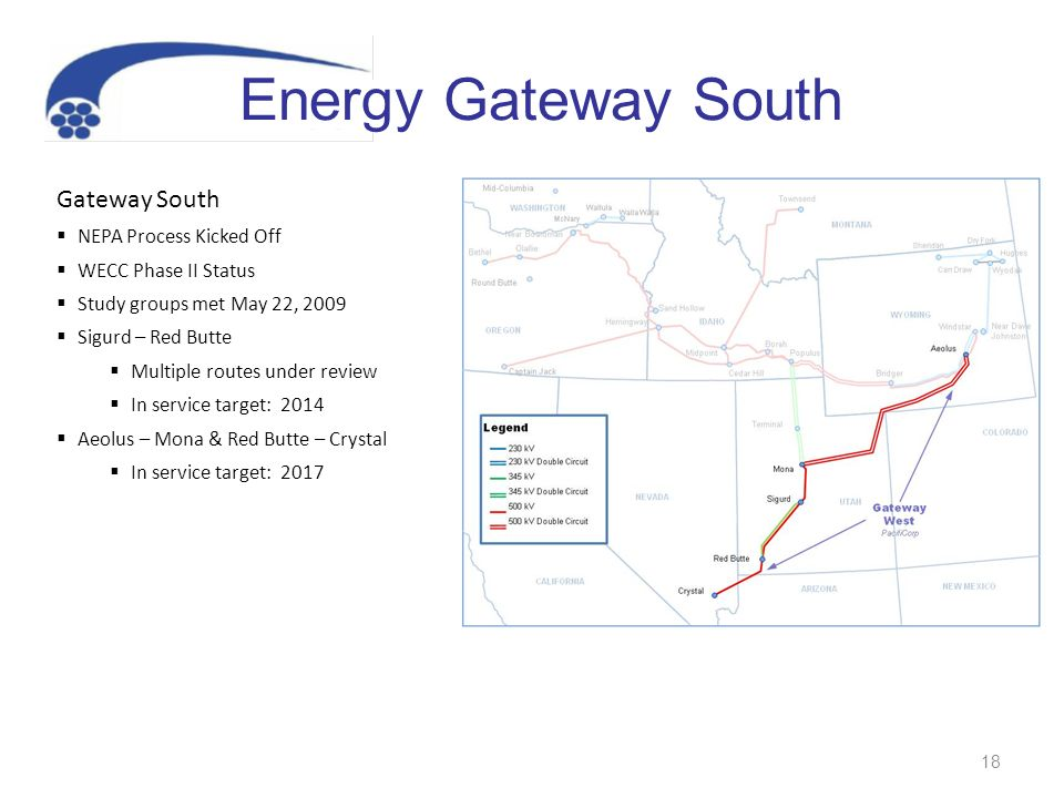 18 Gateway South NEPA Process Kicked Off WECC Phase II Status Study groups met May 22, 2009 Sigurd – Red Butte Multiple routes under review In service