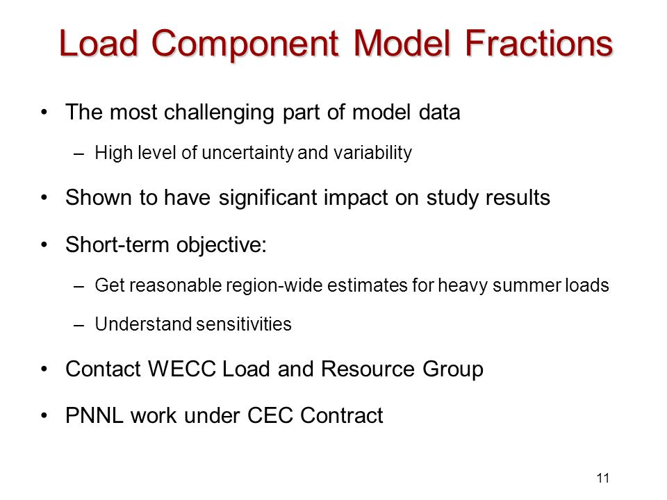 11 Load Component Model Fractions The most challenging part of model data –High level of uncertainty and variability Shown to have significant impact