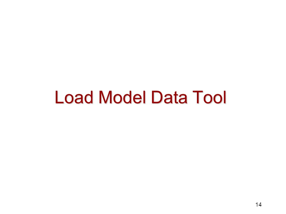 14 Load Model Data Tool