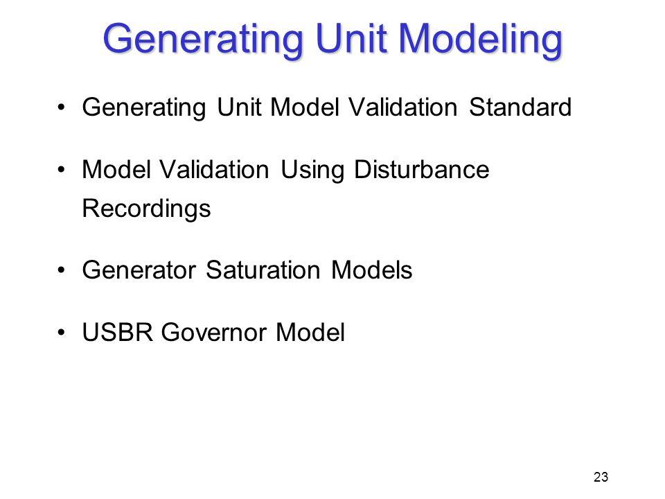 23 Generating Unit Modeling Generating Unit Model Validation Standard Model Validation Using Disturbance Recordings Generator Saturation Models USBR G