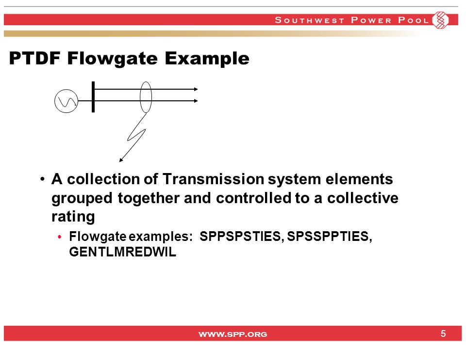 www.spp.org OTDF Flowgate Example What if situation: one line for the loss of another; for example: LAKALASTJHAW Lake Road -> Alabama 161kV ftlo St Joe -> Hawthorn 345kV If the contingent element trips, a portion (0-100%) of the power flows onto the monitored element Classic n-1 contingency; most flowgates fall in this category 6