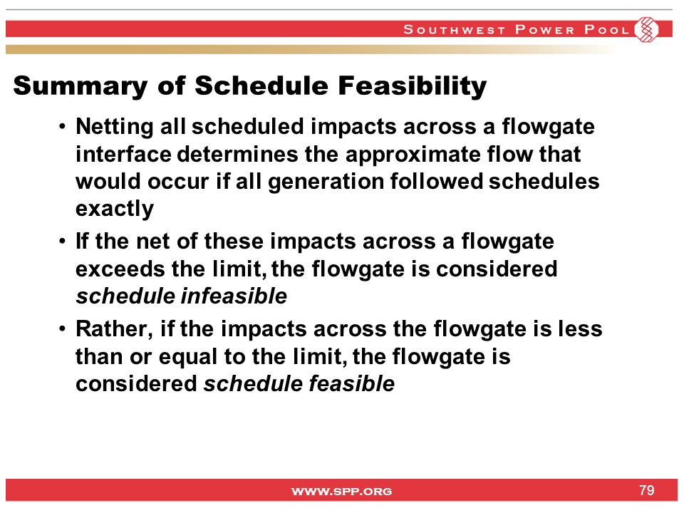 www.spp.org Summary of Schedule Feasibility Netting all scheduled impacts across a flowgate interface determines the approximate flow that would occur