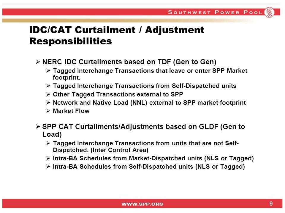 www.spp.org IDC/CAT Curtailment / Adjustment Responsibilities NERC IDC Curtailments based on TDF (Gen to Gen) Tagged Interchange Transactions that lea