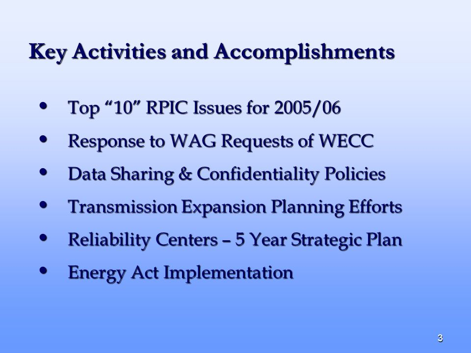 3 Key Activities and Accomplishments Top 10 RPIC Issues for 2005/06 Top 10 RPIC Issues for 2005/06 Response to WAG Requests of WECC Response to WAG Requests of WECC Data Sharing & Confidentiality Policies Data Sharing & Confidentiality Policies Transmission Expansion Planning Efforts Transmission Expansion Planning Efforts Reliability Centers – 5 Year Strategic Plan Reliability Centers – 5 Year Strategic Plan Energy Act Implementation Energy Act Implementation