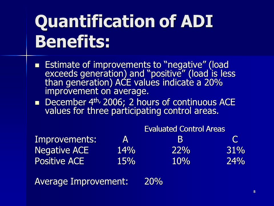 8 Estimate of improvements to negative (load exceeds generation) and positive (load is less than generation) ACE values indicate a 20% improvement on average.