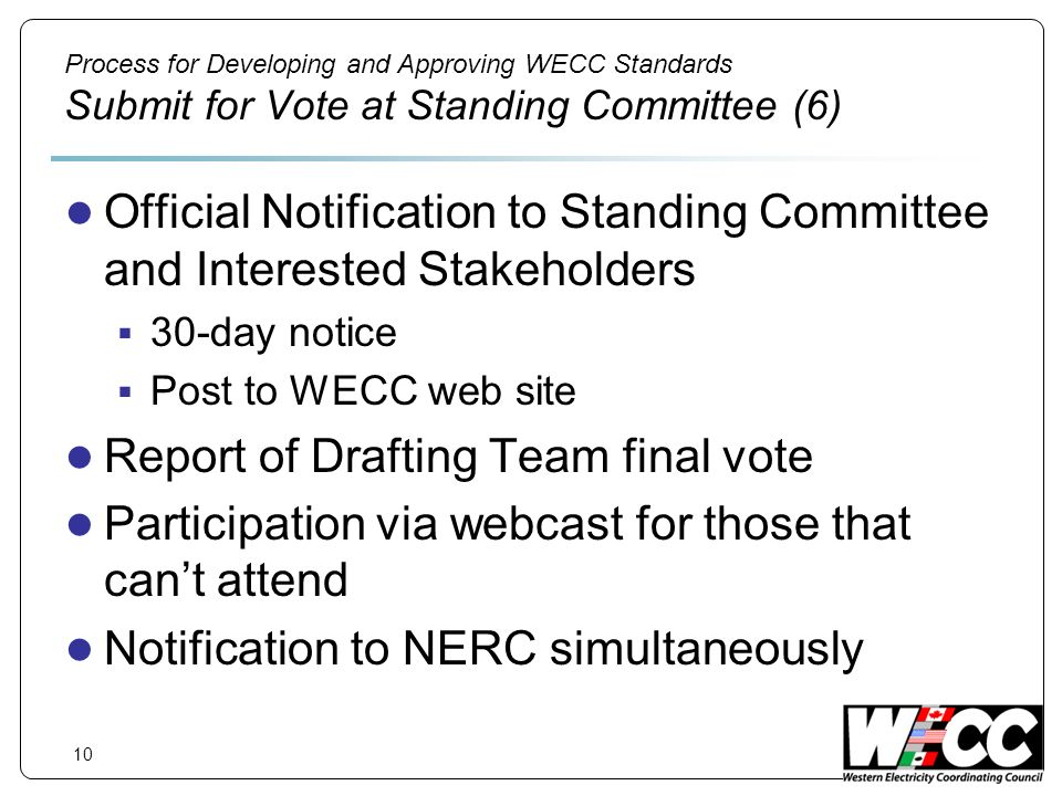10 Process for Developing and Approving WECC Standards Submit for Vote at Standing Committee (6) Official Notification to Standing Committee and Interested Stakeholders 30-day notice Post to WECC web site Report of Drafting Team final vote Participation via webcast for those that cant attend Notification to NERC simultaneously